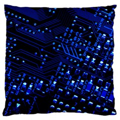 Blue Circuit Technology Image Large Flano Cushion Case (two Sides) by BangZart