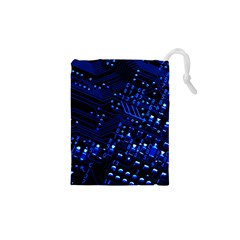 Blue Circuit Technology Image Drawstring Pouches (xs)