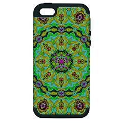 Golden Star Mandala In Fantasy Cartoon Style Apple Iphone 5 Hardshell Case (pc+silicone) by pepitasart