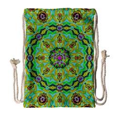 Golden Star Mandala In Fantasy Cartoon Style Drawstring Bag (large) by pepitasart