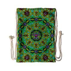Golden Star Mandala In Fantasy Cartoon Style Drawstring Bag (small) by pepitasart
