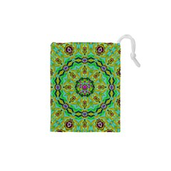 Golden Star Mandala In Fantasy Cartoon Style Drawstring Pouches (xs)  by pepitasart