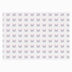 Pink Cute Cat Pattern Large Glasses Cloth (2 Side) by paulaoliveiradesign