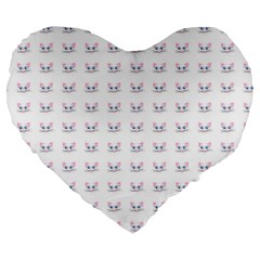 Pink Cute Cat Pattern Large 19  Premium Heart Shape Cushions by paulaoliveiradesign