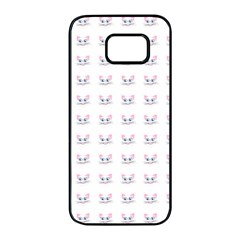 Pink Cute Cat Pattern Samsung Galaxy S7 Edge Black Seamless Case by paulaoliveiradesign