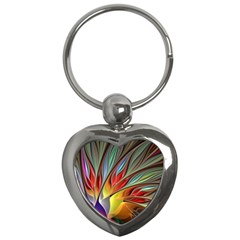 Fractal Bird Of Paradise Key Chains (heart)  by WolfepawFractals
