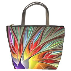 Fractal Bird Of Paradise Bucket Bags by WolfepawFractals