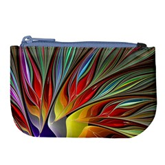 Fractal Bird Of Paradise Large Coin Purse by WolfepawFractals