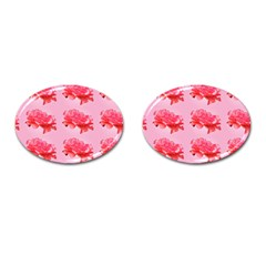 Pink Floral Pattern Cufflinks (oval) by paulaoliveiradesign