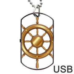 Boat Wheel Transparent Clip Art Dog Tag Usb Flash (one Side)