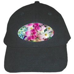 Colorful Flowers Patterns Black Cap
