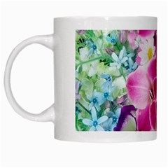 Colorful Flowers Patterns White Mugs