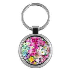 Colorful Flowers Patterns Key Chains (round)  by BangZart