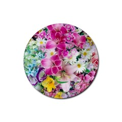 Colorful Flowers Patterns Rubber Round Coaster (4 Pack)