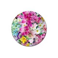 Colorful Flowers Patterns Magnet 3  (round) by BangZart