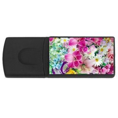 Colorful Flowers Patterns Rectangular Usb Flash Drive by BangZart