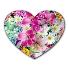 Colorful Flowers Patterns Heart Mousepads by BangZart