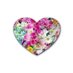 Colorful Flowers Patterns Rubber Coaster (heart)