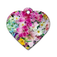 Colorful Flowers Patterns Dog Tag Heart (one Side) by BangZart
