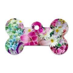 Colorful Flowers Patterns Dog Tag Bone (two Sides)