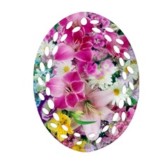 Colorful Flowers Patterns Ornament (oval Filigree) by BangZart
