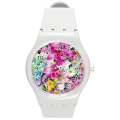 Colorful Flowers Patterns Round Plastic Sport Watch (m)