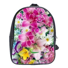 Colorful Flowers Patterns School Bags (xl)  by BangZart