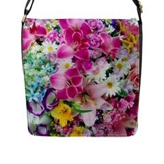 Colorful Flowers Patterns Flap Messenger Bag (l)  by BangZart