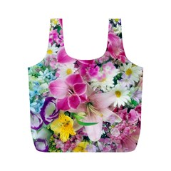 Colorful Flowers Patterns Full Print Recycle Bags (m)