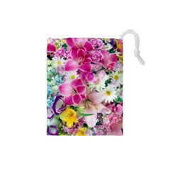 Colorful Flowers Patterns Drawstring Pouches (small)  by BangZart