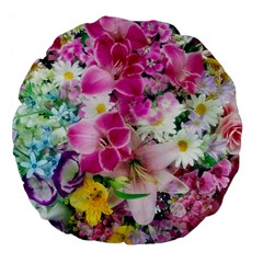 Colorful Flowers Patterns Large 18  Premium Flano Round Cushions by BangZart