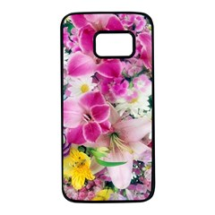 Colorful Flowers Patterns Samsung Galaxy S7 Black Seamless Case by BangZart