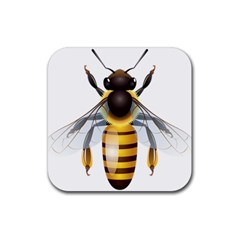 Bee Rubber Square Coaster (4 Pack)  by BangZart