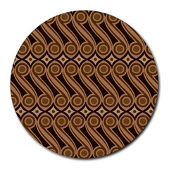 Batik The Traditional Fabric Round Mousepads by BangZart