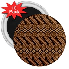 Batik The Traditional Fabric 3  Magnets (10 Pack)