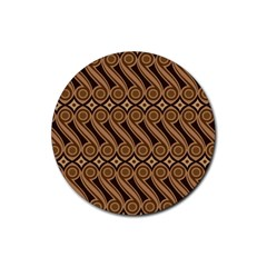 Batik The Traditional Fabric Rubber Coaster (round)  by BangZart