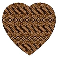 Batik The Traditional Fabric Jigsaw Puzzle (heart) by BangZart