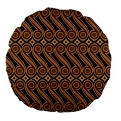 Batik The Traditional Fabric Large 18  Premium Flano Round Cushions by BangZart