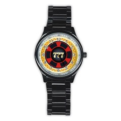 Casino Chip Clip Art Stainless Steel Round Watch