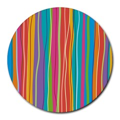 Colorful Striped Background Round Mousepads by TastefulDesigns