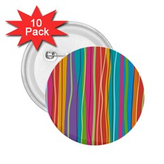 Colorful Striped Background 2 25  Buttons (10 Pack)  by TastefulDesigns