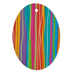 Colorful Striped Background Oval Ornament (two Sides) by TastefulDesigns