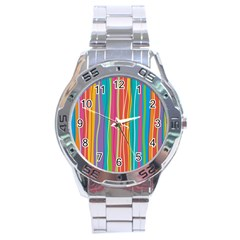 Colorful Striped Background Stainless Steel Analogue Watch by TastefulDesigns