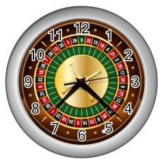 Casino Roulette Clipart Wall Clocks (silver)