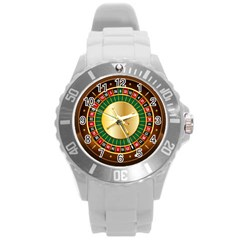 Casino Roulette Clipart Round Plastic Sport Watch (l) by BangZart