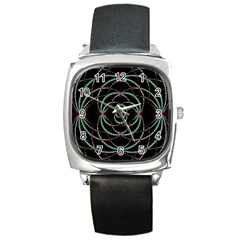 Abstract Spider Web Square Metal Watch