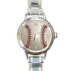 Baseball Round Italian Charm Watch by BangZart