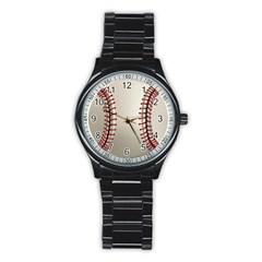 Baseball Stainless Steel Round Watch by BangZart