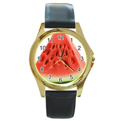 Piece Of Watermelon Round Gold Metal Watch by BangZart