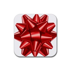 Red Bow Rubber Square Coaster (4 Pack)  by BangZart